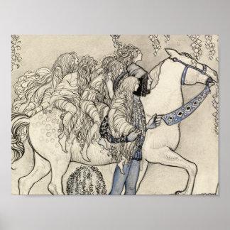 John Bauer - hästen som han ledde på, bet Poster