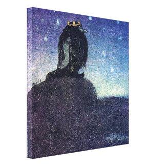 John Bauer kung av trollberg i blått Canvastryck