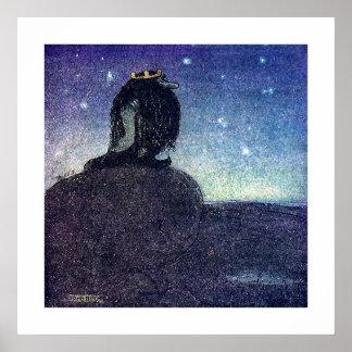 John Bauer kung av trollberg i blått Poster
