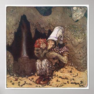 John Bauer - morkärlek - trollaffisch Poster
