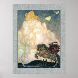 John Bauer slott av rosiga moln Posters