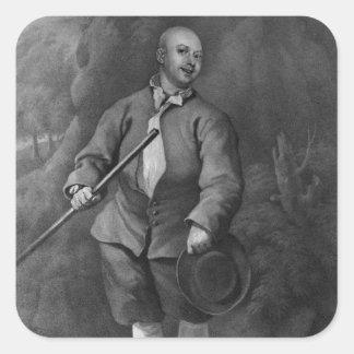 John Broughton som inristas av F. Ross, 1842 Fyrkantigt Klistermärke
