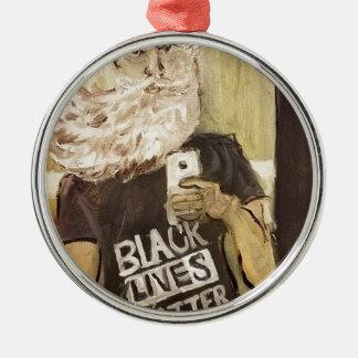 John brun Selfie/svartlivmateria Rund Silverfärgad Julgransprydnad