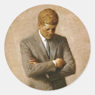 John F. Kennedy officiellt porträtt av Aaron Runt Klistermärke