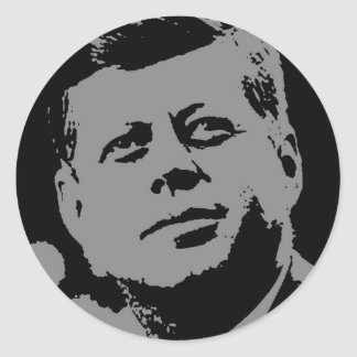 John F. Kennedy svart och grå färgsilhouette Runt Klistermärke