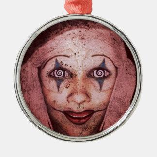 JokerSkrovlig-Ann clown med Swirly ögon Rund Silverfärgad Julgransprydnad