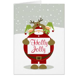 Jolly fet Santa för järnek gullig julkort Hälsningskort