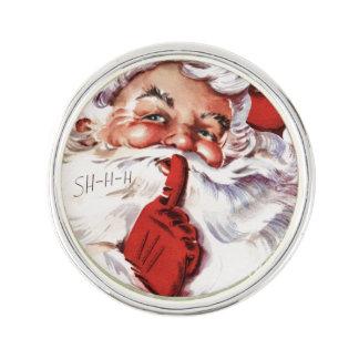 Jolly gammal Santa för vintage Shhh jul Kavajnål