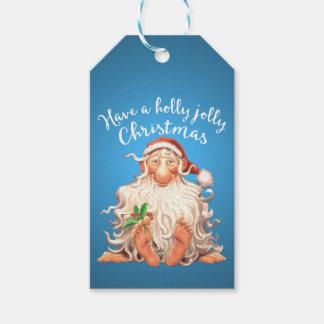 Jolly jul för barfota Santa järnek Presentetikett