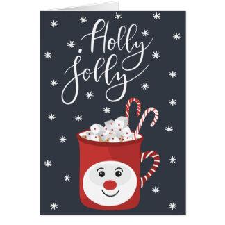 Jolly julkort för järnek hälsningskort