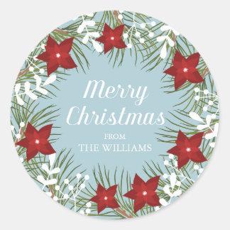 Jolly julstjärna för järnek - julklistermärke runt klistermärke