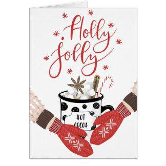 Jolly röd julkort för järnek hälsningskort