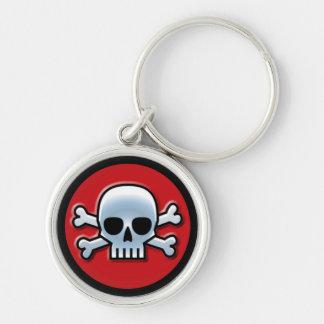 Jolly Roger på rött Rund Silverfärgad Nyckelring