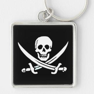 Jolly Roger pirat Keychain Fyrkantig Silverfärgad Nyckelring