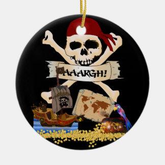 Jolly Roger, piratfrakt & pirat bröstkorg Julgransprydnad Keramik