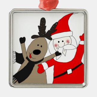 Jolly Santa och ren Silverfärgad Fyrkantigt Julgransprydnad