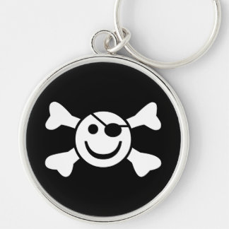 Jolly Smiley Rund Silverfärgad Nyckelring