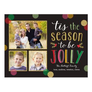 Jolly vykort för kort för säsonghelgdagfoto