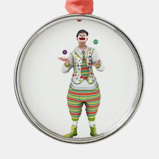 Jonglera clownen rund silverfärgad julgransprydnad