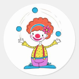 Jonglera clownen runt klistermärke