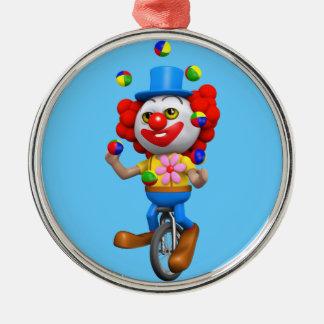 jonglerar den roliga clownen 3d på enhjuling rund silverfärgad julgransprydnad