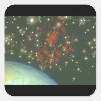 Jord och galax. (jord; galaxy_Spaceplatser Fyrkantigt Klistermärke