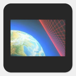 Jord och raster. (jord; grid_Spaceplatser Fyrkantigt Klistermärke