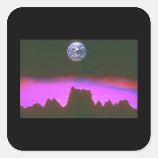 Jord över berg. (earth_Spaceplatser Fyrkantigt Klistermärke