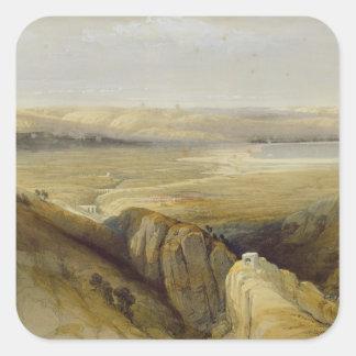 Jordan Valley från volym II av 'den heliga Land'en Fyrkantigt Klistermärke