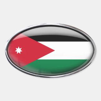 Jordanienflagga i den Glass ovalen (packen av 4) Ovalt Klistermärke