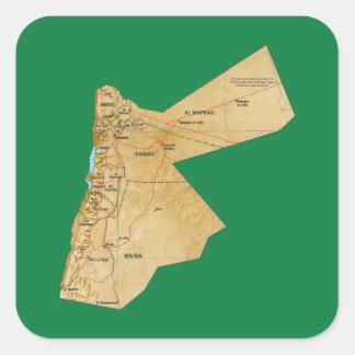 Jordanienkartaklistermärke Fyrkantigt Klistermärke