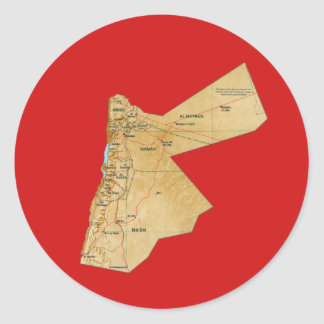 Jordanienkartaklistermärke Runt Klistermärke
