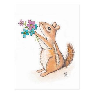 Jordekorre med blommabuketten vykort