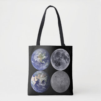 Jorden & månen från utrymme tygkasse