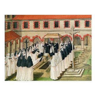 Jordfästningen av en nunna, från 'l'Abbaye de Vykort