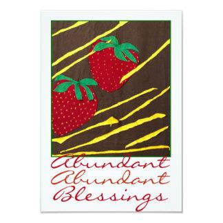 """Jordgubbar """"för överflödande välsignelser"""" 8,9 x 12,7 cm inbjudningskort"""