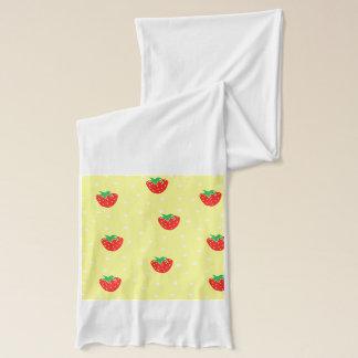 Jordgubbar och polka dotsgult halsduk