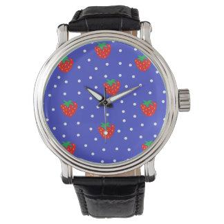 Jordgubbar och polka dotsmörk - blått armbandsur