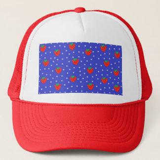 Jordgubbar och polka dotsmörk - blått keps