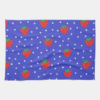 Jordgubbar och polka dotsmörk - blått kökshandduk
