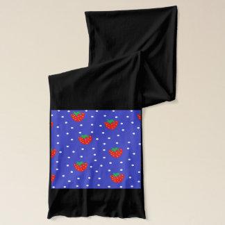 Jordgubbar och polka dotsmörk - blått sjal