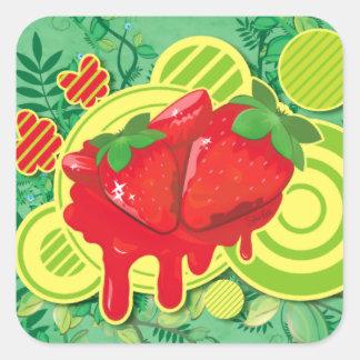 Jordgubben och blommigten - kvadrera klistermärken