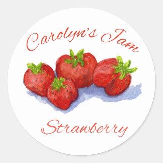 jordgubbesyltetikett rund klistermärke