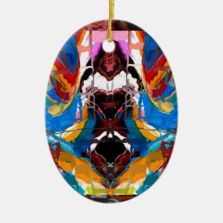 Jordgudinna - ren konstnärlig fantasi ovalformad julgransprydnad i keramik