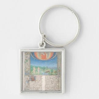 Jordiskt paradis, en bok på sju åldrar av världen fyrkantig silverfärgad nyckelring