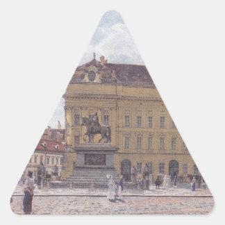 Josefen kvadrerar i Wien av Rudolf von Alt Triangelformat Klistermärke