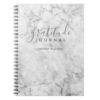 Journal för marmormönstertacksamhet - grått och anteckningsbok