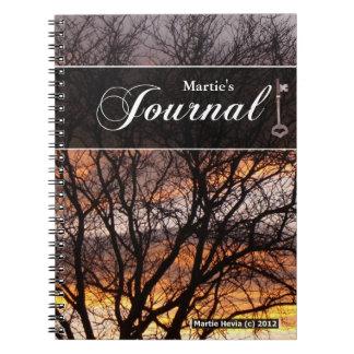 Journalanteckningsbok - solnedgångträd spiralbundna anteckningsböcker