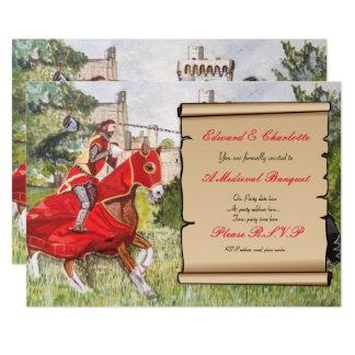 Jousting hästar för medeltida bankettinbjudan 12,7 x 17,8 cm inbjudningskort