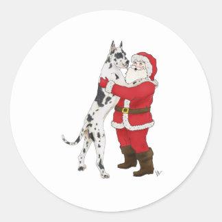Jowly julhälsning för great dane runt klistermärke